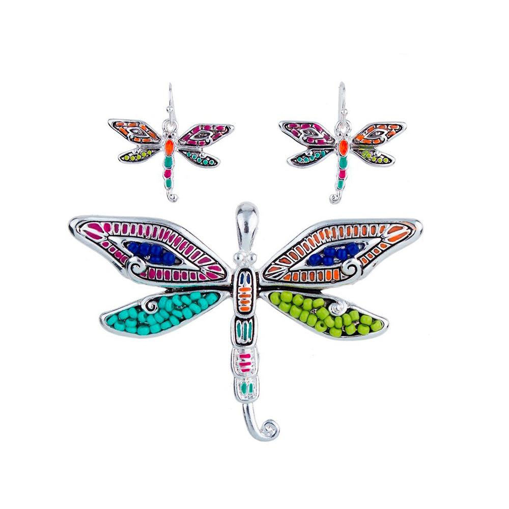 Schmucksets - Schmuckset Anhänger und Ohrringe Schildkröte Mehrfarben Schmuckset Anhänger und Ohrringe Libelle Mehrfarben  - Onlineshop Blue Pearls