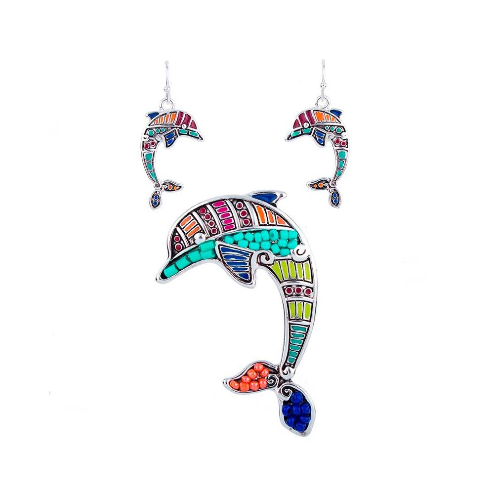 Schmuckset Anhänger und Ohrringe Delphin Mehrfarben | 5837