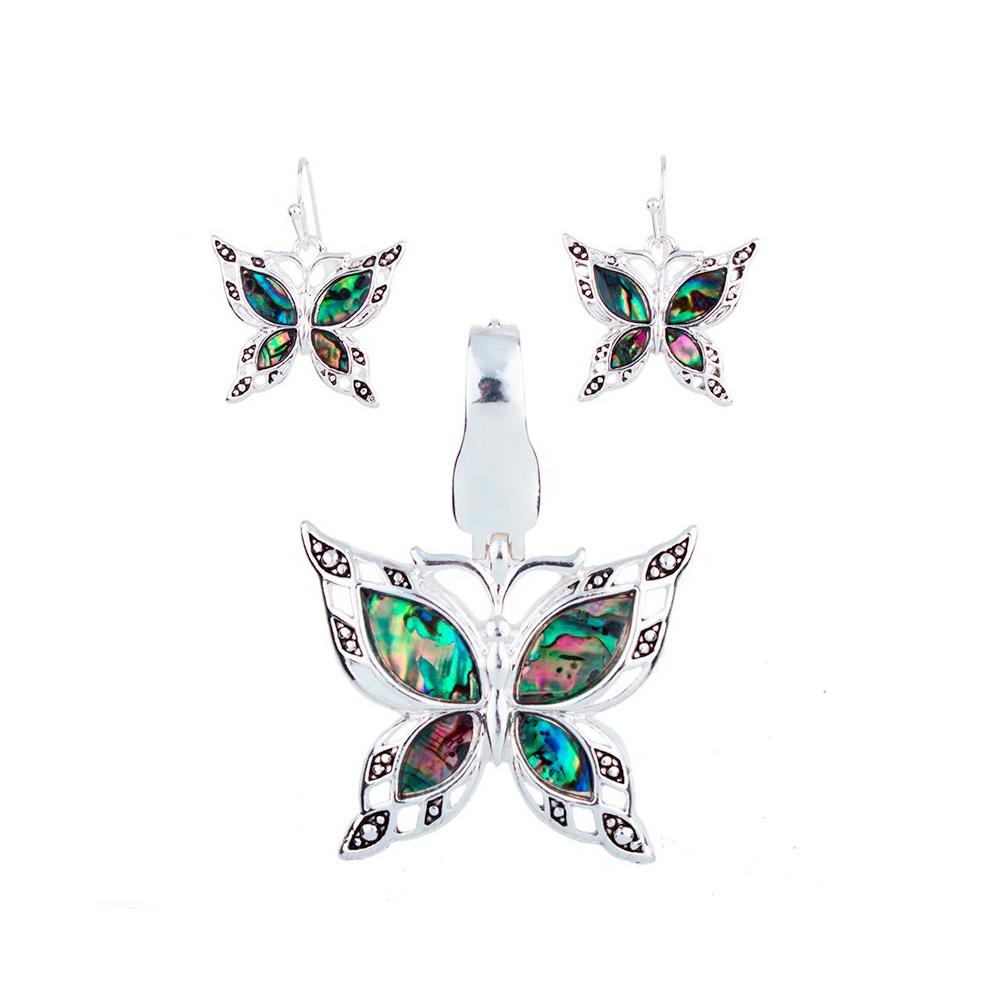 Schmuckset Anhänger und Ohrringe Schmetterling Ohrringe Ohrschnecken | 5839