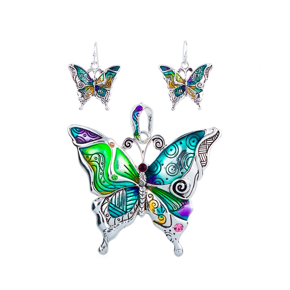 Schmuckset Anhänger und Ohrringe Schmetterling Mehrfarben | 5843