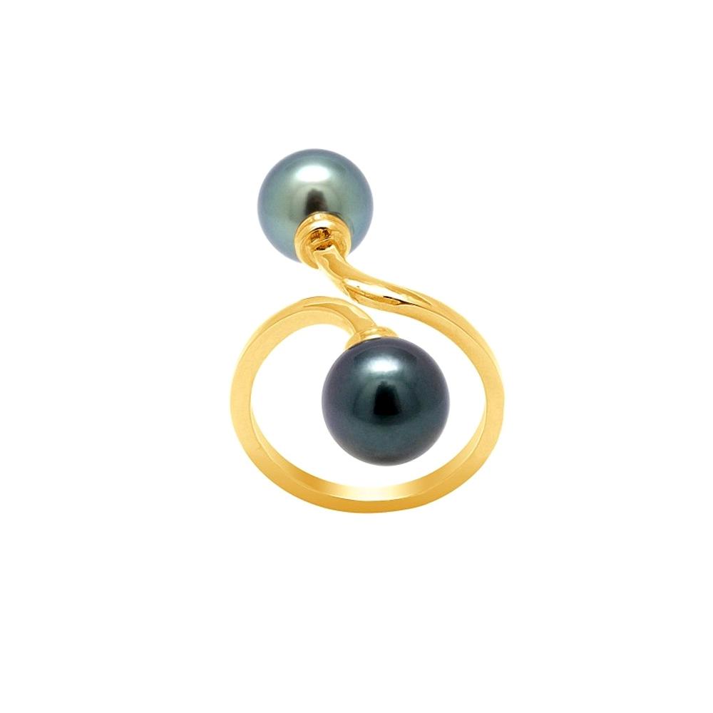 Ringe - Ring Tahiti Perlen und Gelbgold 750 1000  - Onlineshop Blue Pearls