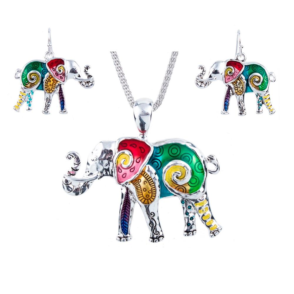 Schmuckset Anhänger und Ohrringe Elefant Mehrfarben | 5973