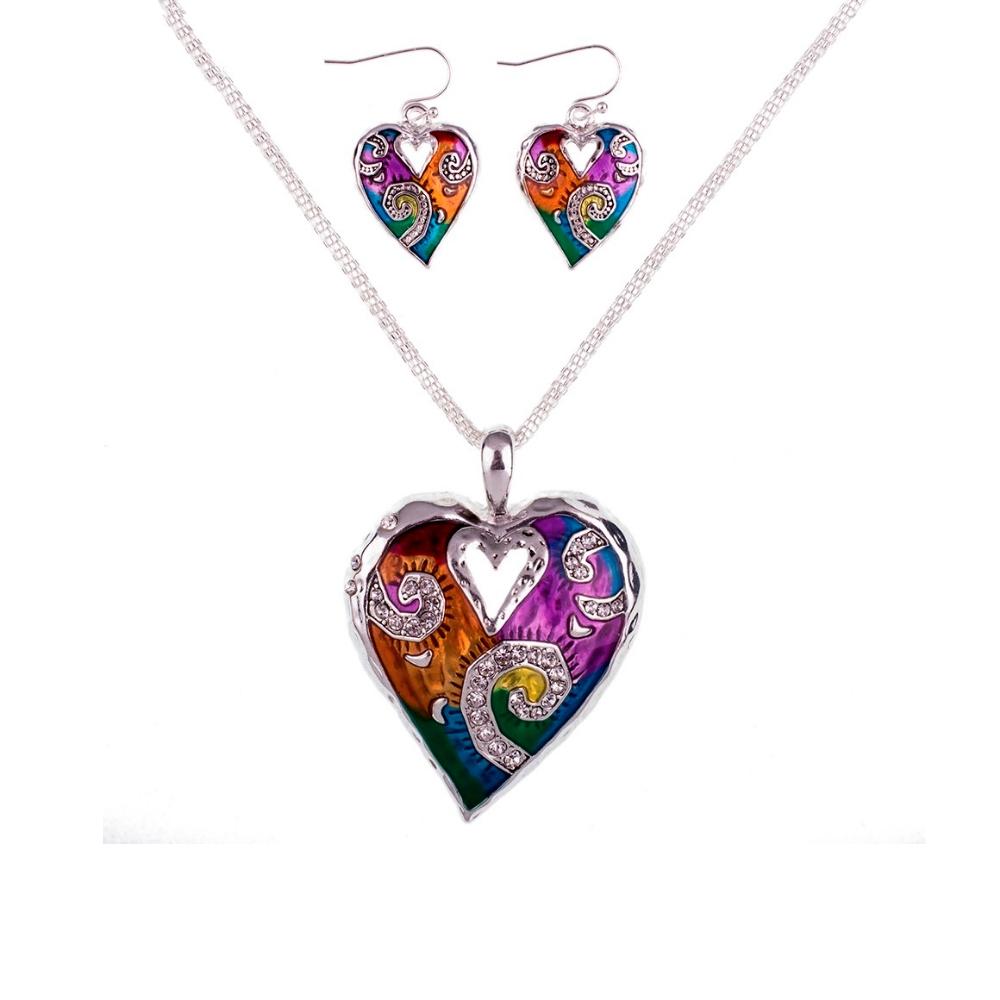 Schmuckset Anhänger und Ohrringe Herz Mehrfarben | 5974