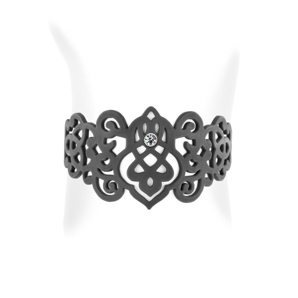 Armbaender für Frauen - Arabesque Armband Schwarz Silikon Gum Effekt Tattoo  - Onlineshop Blue Pearls