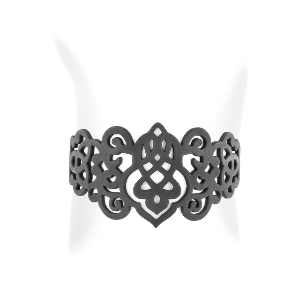 bracelet arabesque en silicone noir effet tatouage. Black Bedroom Furniture Sets. Home Design Ideas