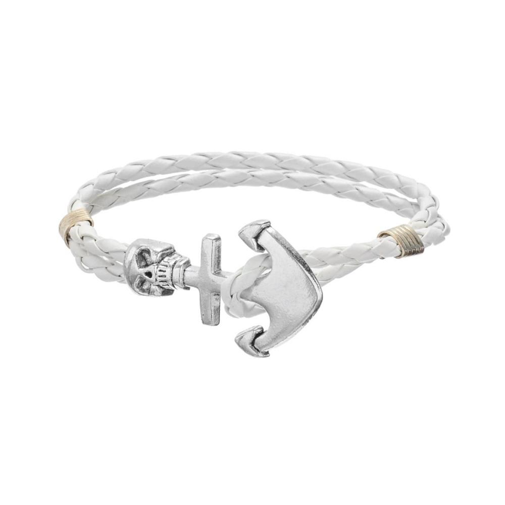 bracelet homme cr ne et ancre en cuir tress blanc et acier inoxydable bracelets blue pearls. Black Bedroom Furniture Sets. Home Design Ideas