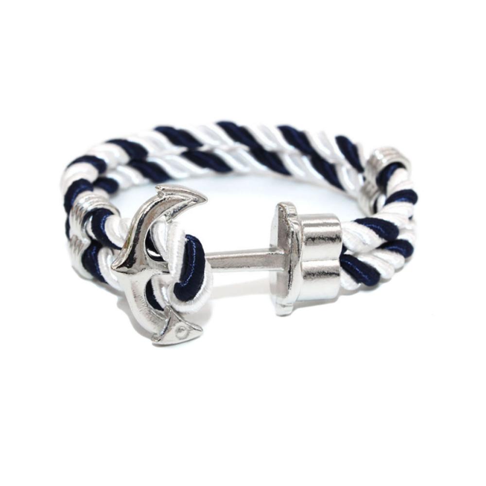 bc15cd7a7a41 Pulsera Hombre Tela Azul y Blanco y Ancla Acero Inoxidable - Pulseras - Blue  Pearls