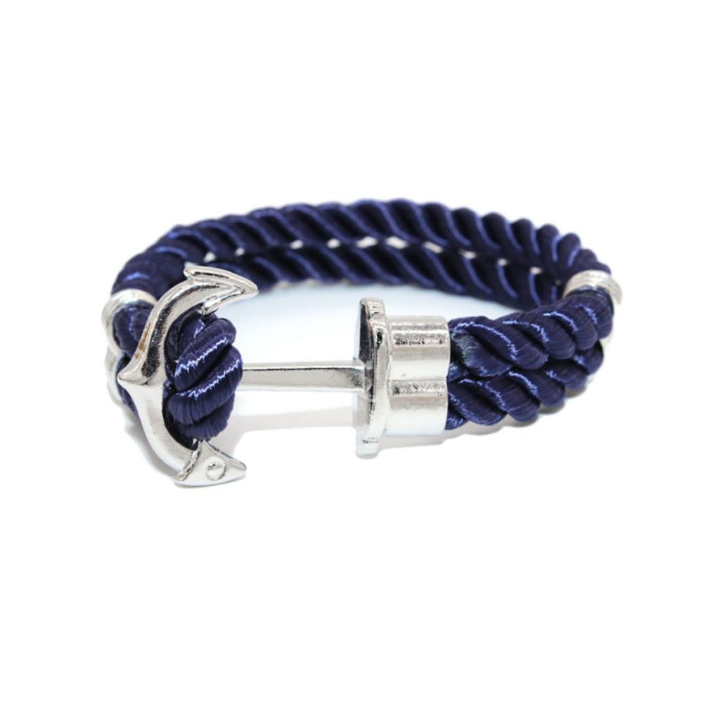 6d58b412f72c Pulsera Hombre Tela Azul y Ancla Acero Inoxidable - Pulseras - Blue Pearls