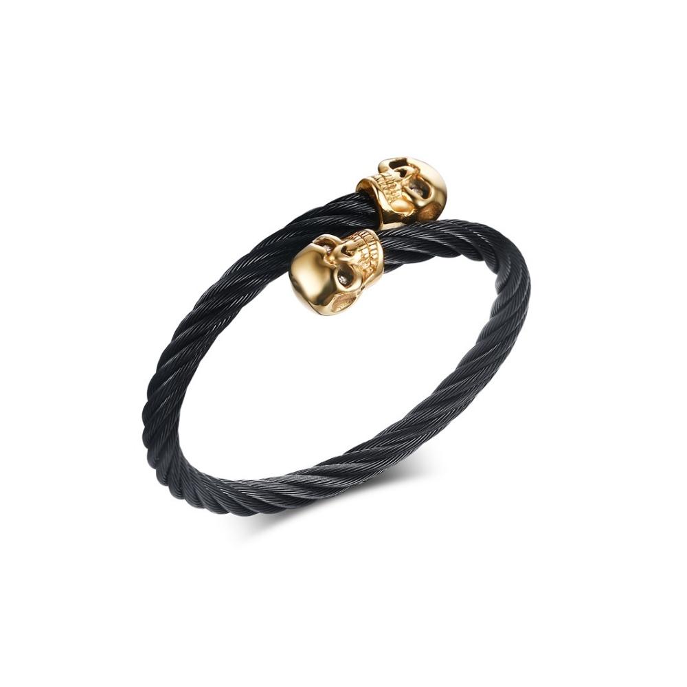 bracelet bangle homme en acier torsad noir et t te de. Black Bedroom Furniture Sets. Home Design Ideas