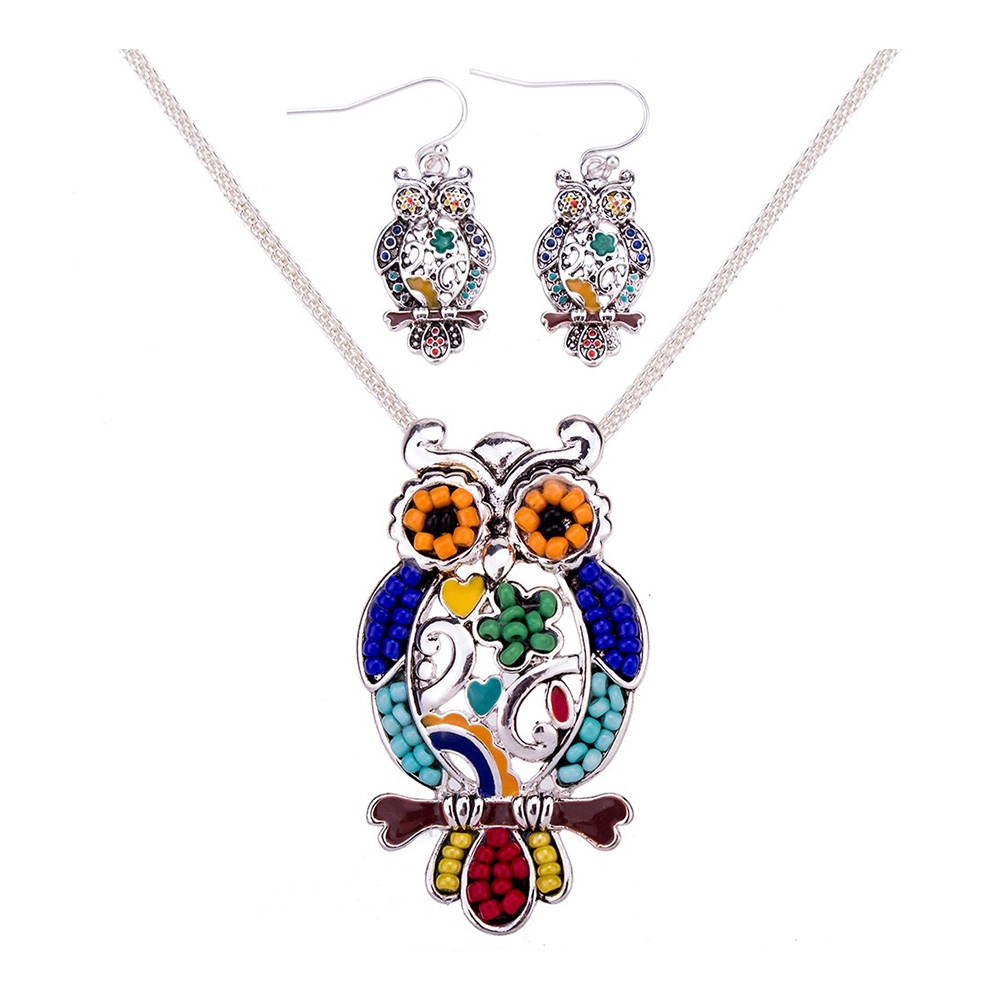 Schmuckset Anhänger und Ohrringe Eulen Ohrringe Perlen Multicolor | 6032