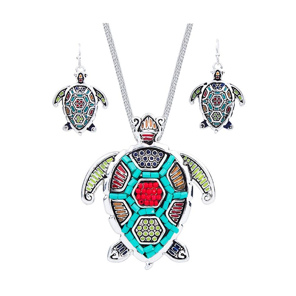 Schmuckset Anhänger und Ohrringe Schildkröte Ohrringe Perlen Multicolor | 6033