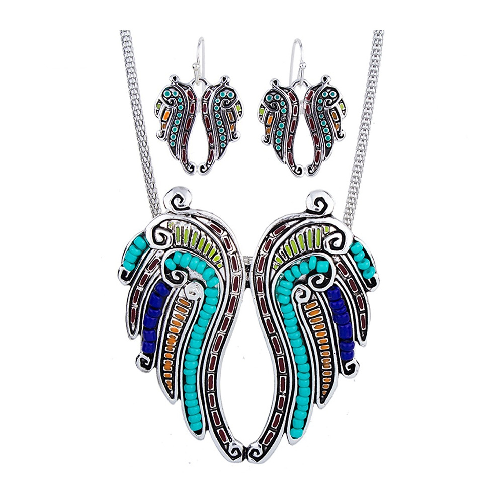 Schmuckset Anhänger und Ohrringe Flügel Ohrringe Perlen Multicolor | 6034