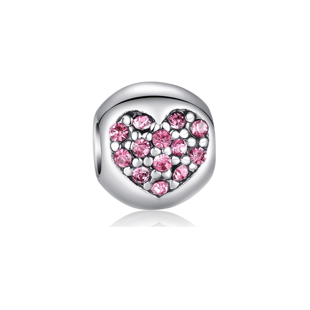 Armbaender für Frauen - Rosa Herz Kristall Charms Beads  - Onlineshop Blue Pearls