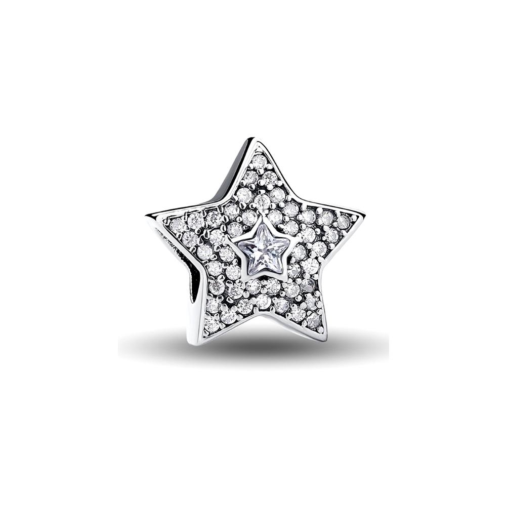 Armbaender für Frauen - Stern weiss Kristall Charms Beads und 925 Silber  - Onlineshop Blue Pearls