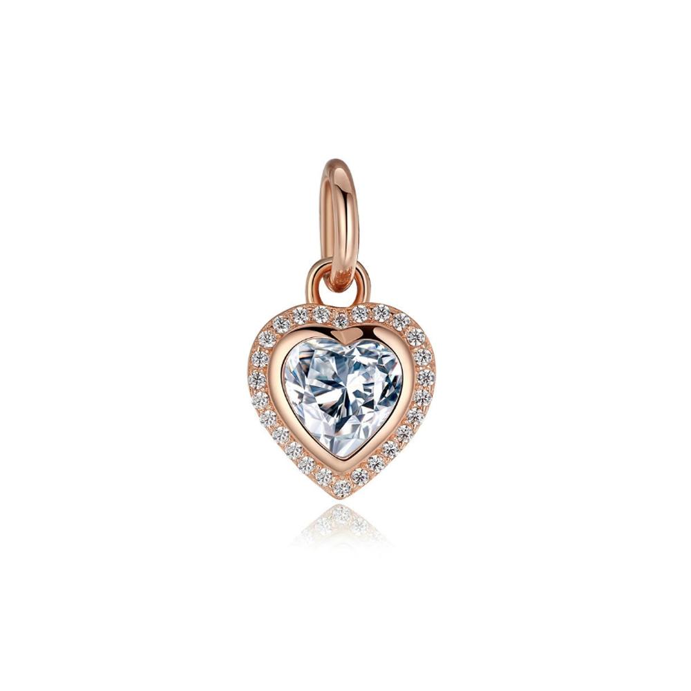 Armbaender für Frauen - Weissen Herz Kristall 925 silber und rose vergoldet Charms Beads  - Onlineshop Blue Pearls