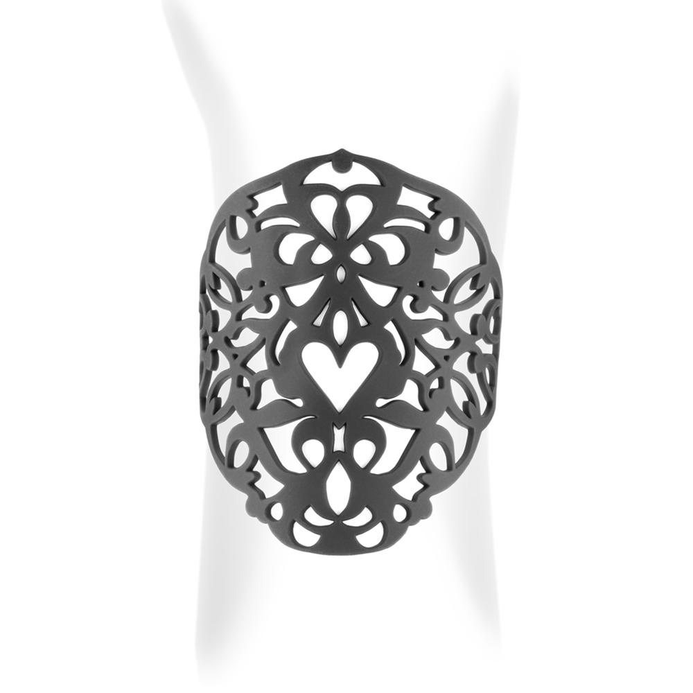 Armbaender für Frauen - Herz Stulpe Armband Schwarz Silikon Gum Effekt Tattoo  - Onlineshop Blue Pearls