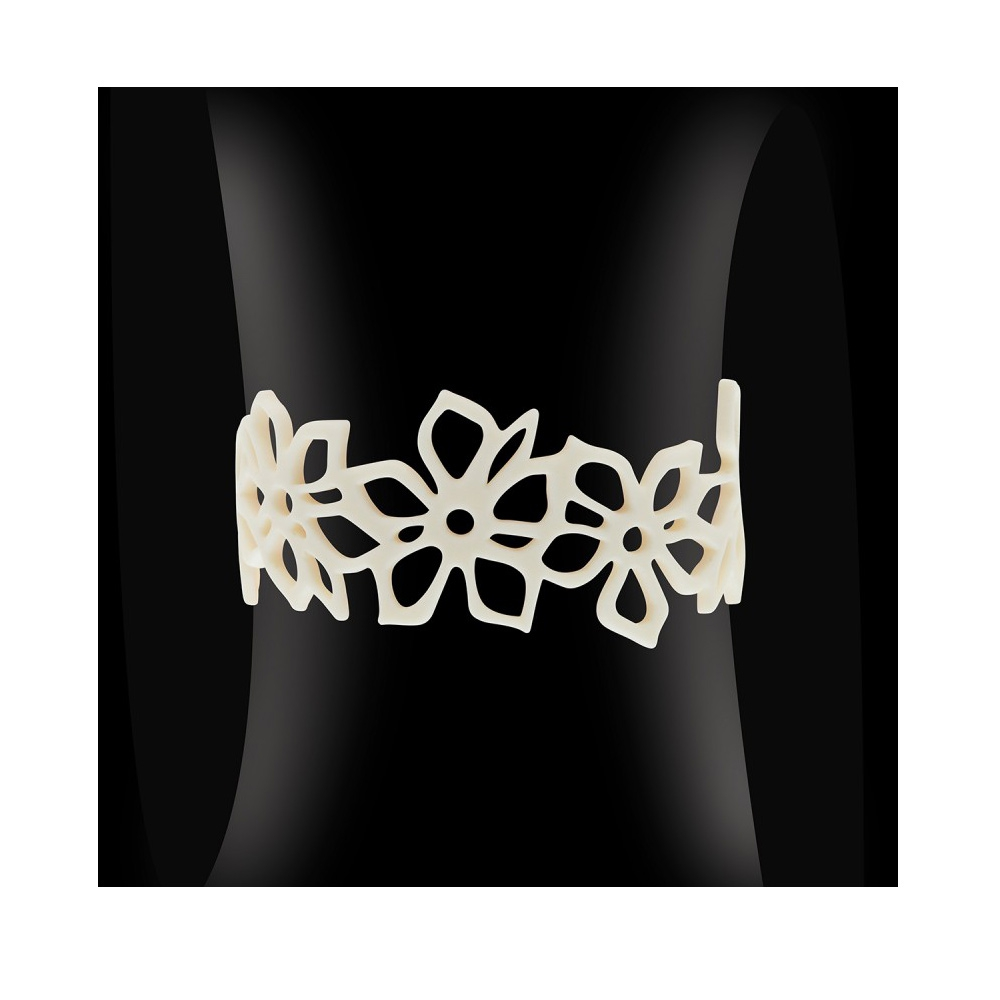 Armbaender - Blumen Armband Schwarz Silikon Gum Effekt Tattoo  - Onlineshop Blue Pearls