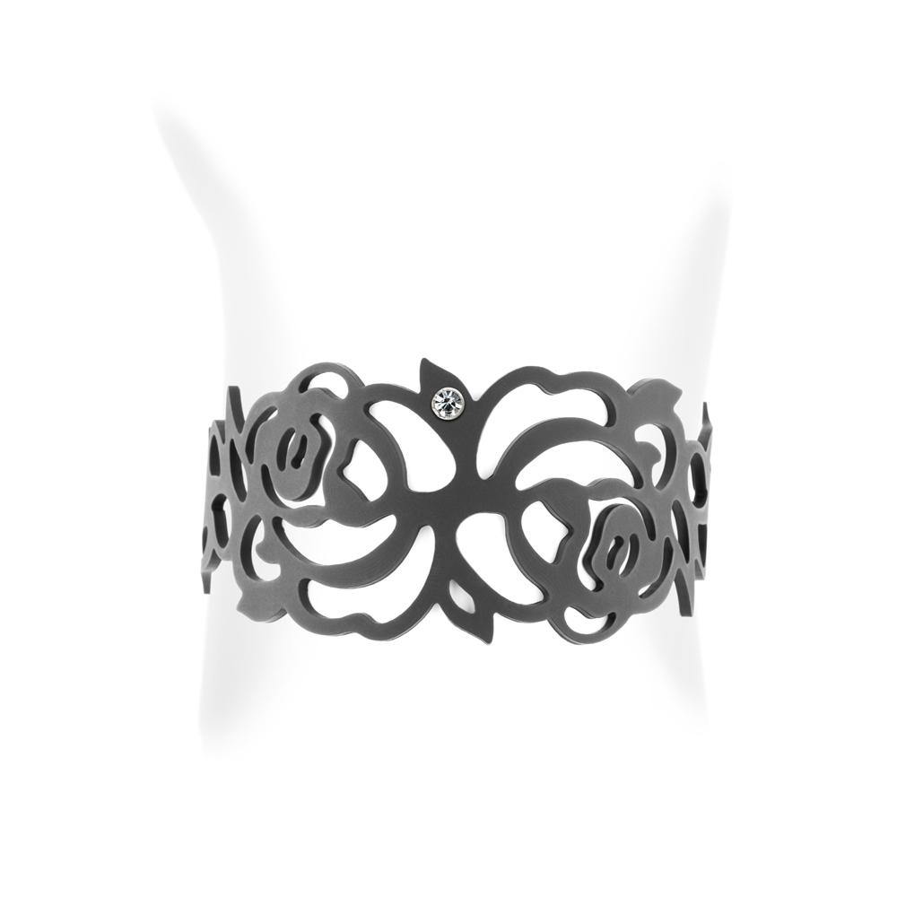 Armbaender für Frauen - Rosen Armband Schwarz Silikon Gum Effekt Tattoo  - Onlineshop Blue Pearls