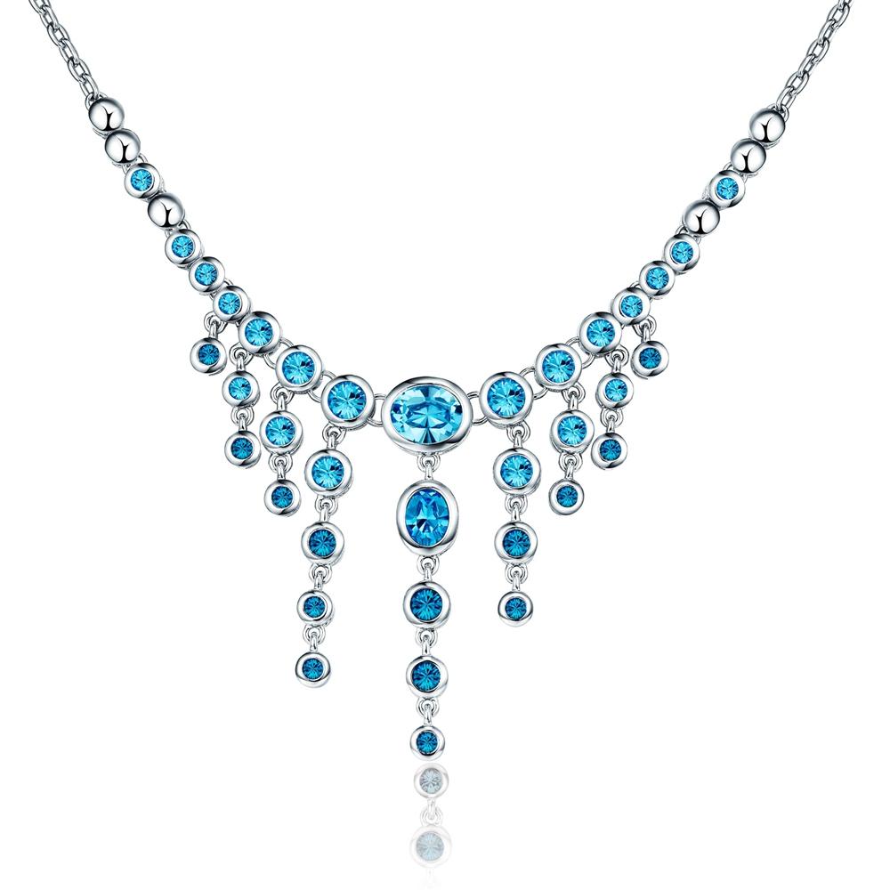 collier cristal de swarovski elements bleu ebay. Black Bedroom Furniture Sets. Home Design Ideas