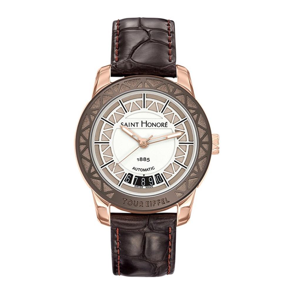Uhren - Uhr Frau Eiffelturm Saint Honoré und Leder Armband braun  - Onlineshop Blue Pearls