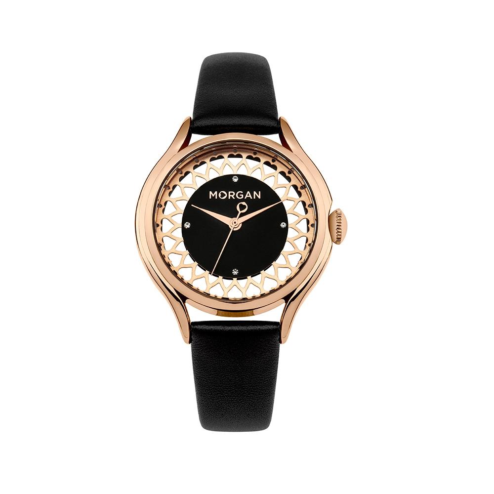 1da287eb0556 Reloj Mujer Morgan y Pulsera cuero Negro - Relojes - Blue Pearls