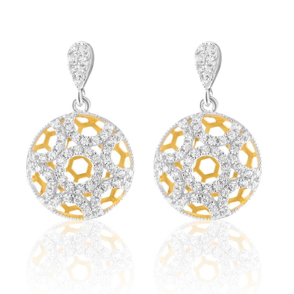 114 White Swarovski Crystal Zirconia and 925 Silver Earrings