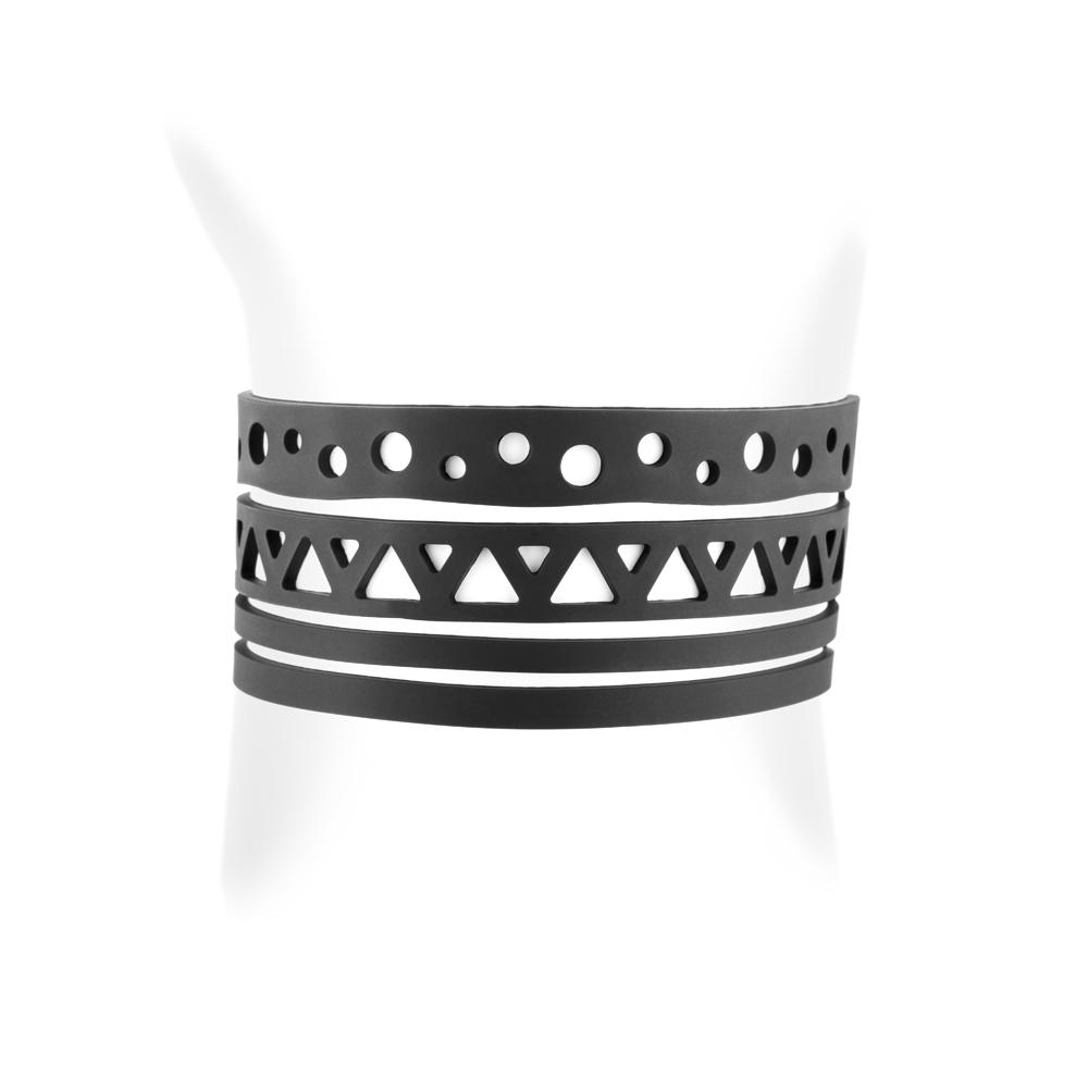 Armbaender für Frauen - Ethnisch Armband Schwarz Silikon Gum Effekt Tattoo  - Onlineshop Blue Pearls