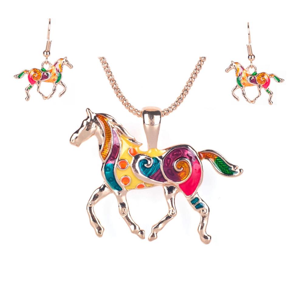Schmuckset Anhänger und Ohrringe Pferd Mehrfarben | 6554