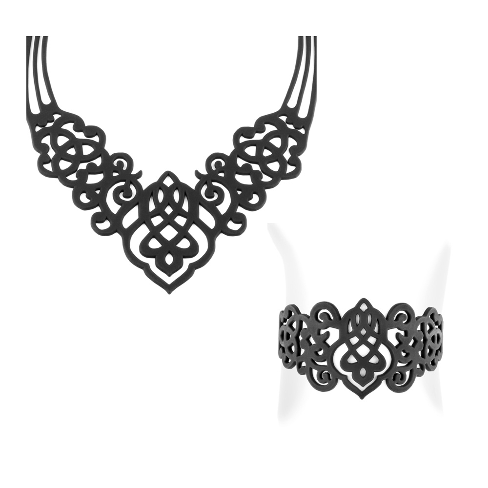 Schmucksets - Arabeske Halskette und Armband Schwarz Silikon Gum Effekt Tattoo  - Onlineshop Blue Pearls