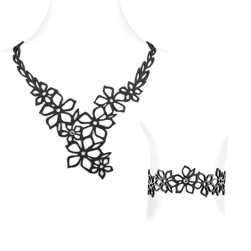 Schmucksets - Tiaréblume Halskette und Armband Schwarz Silikon Gum Effekt Tattoo  - Onlineshop Blue Pearls