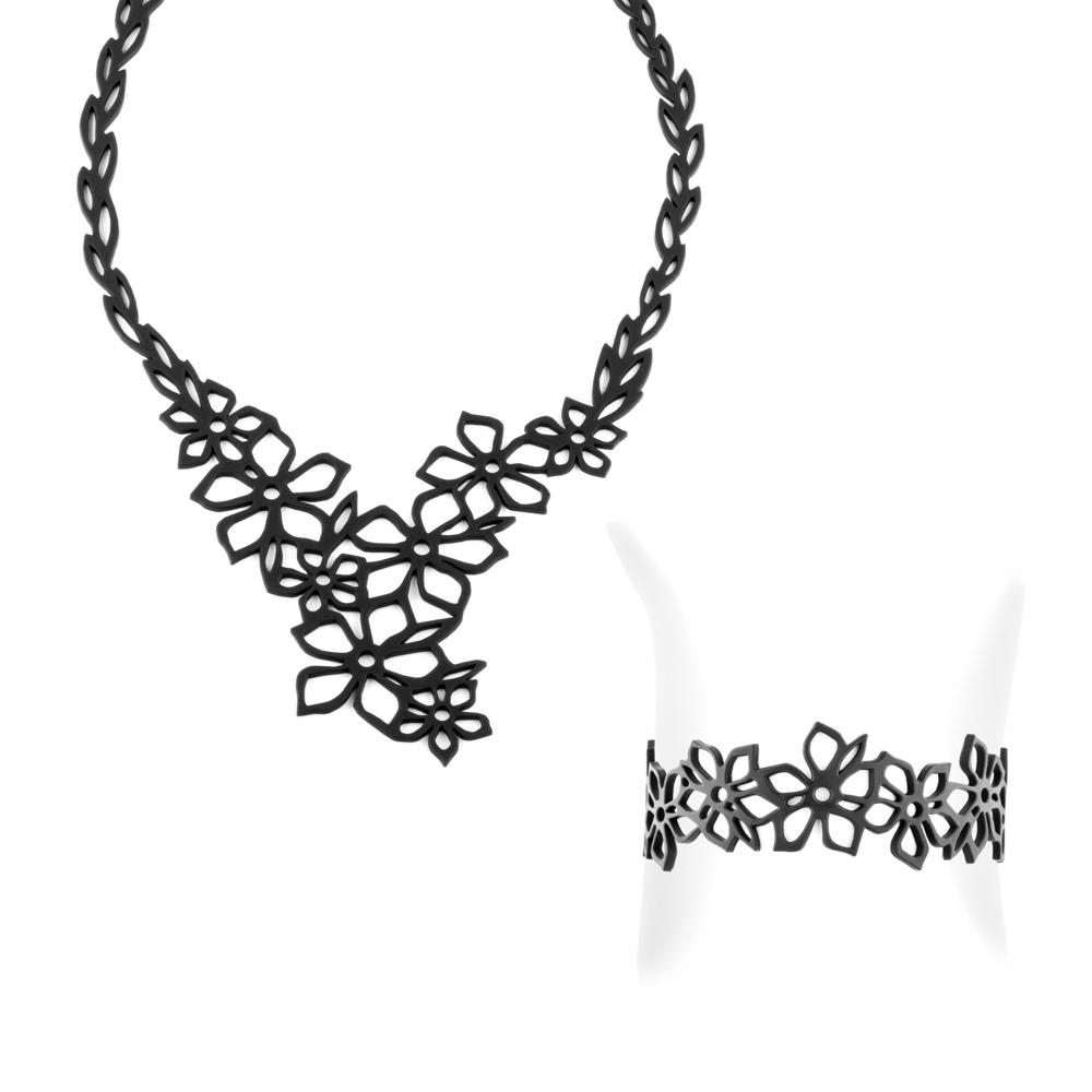 Tiaréblume Halskette und Armband Schwarz Silikon Gum Effekt Tattoo | 6574