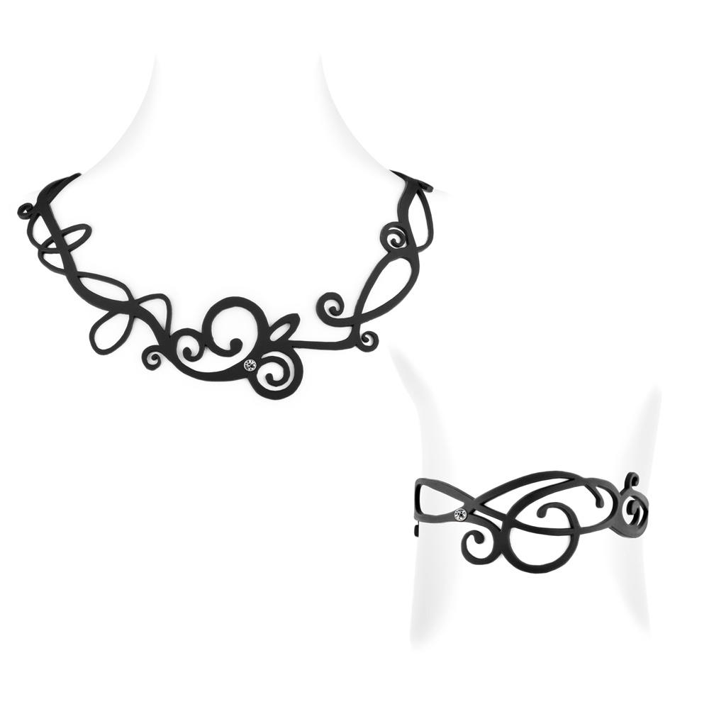 Wellen Halskette und Armband Schwarz Silikon Gum Effekt Tattoo | 6576