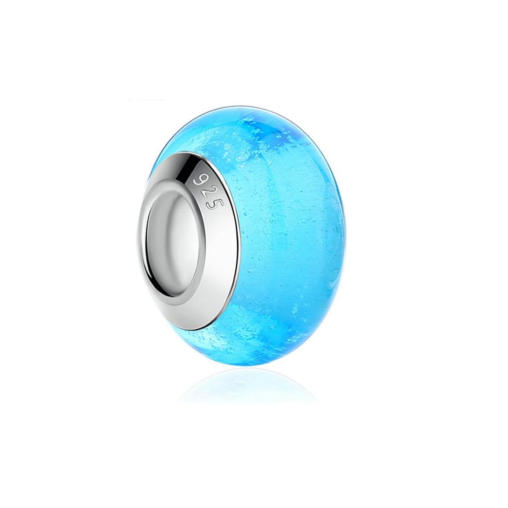 Armbaender für Frauen - Blauen Muranoglas Charms Bead  - Onlineshop Blue Pearls
