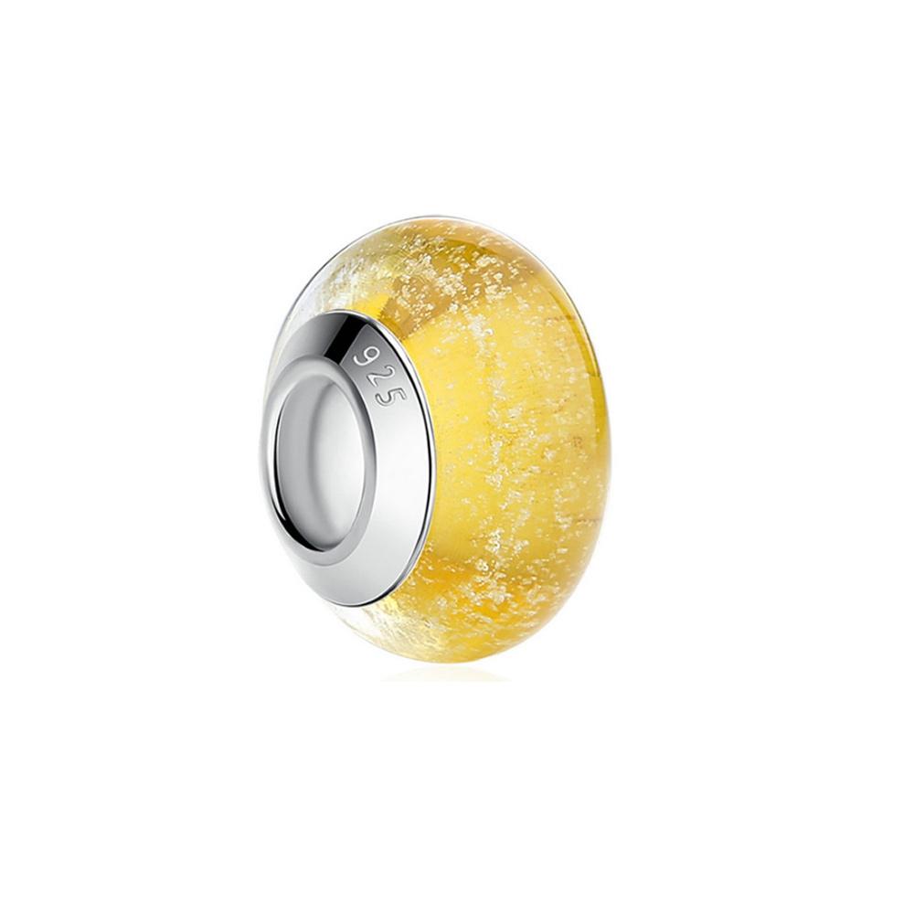 Armbaender für Frauen - Gelb Muranoglas Charms Bead  - Onlineshop Blue Pearls