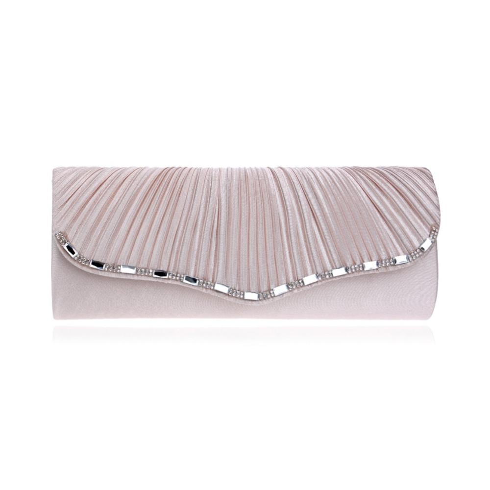 Clutches für Frauen - Handtasche Abend ekrü Beutel Kristall weiß  - Onlineshop Blue Pearls
