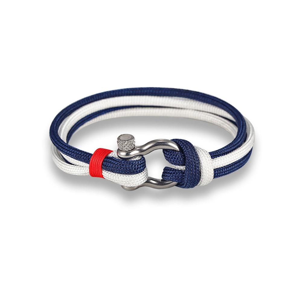 bracelet homme femme 2 rangs et tissu bleu marine blanc et rouge bracelets blue pearls. Black Bedroom Furniture Sets. Home Design Ideas
