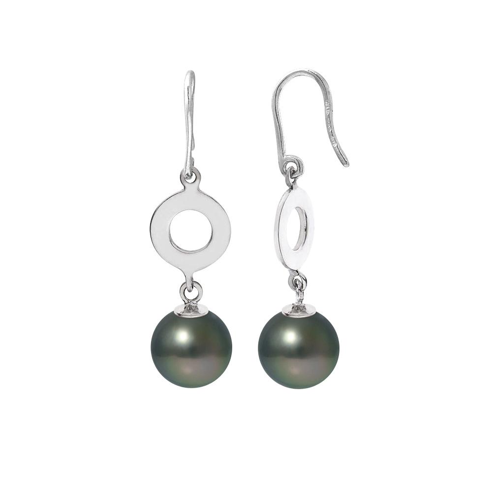 Ohrringe - Ohrringe Schwarze Tahitiperle und Silber 925 1000  - Onlineshop Blue Pearls