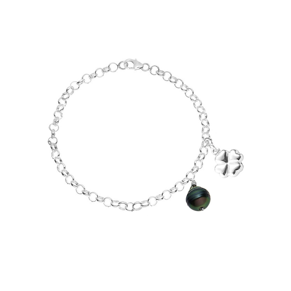 Armbaender für Frauen - Klee Armband Tahiti Perle und 925 Sterlingsilber  - Onlineshop Blue Pearls