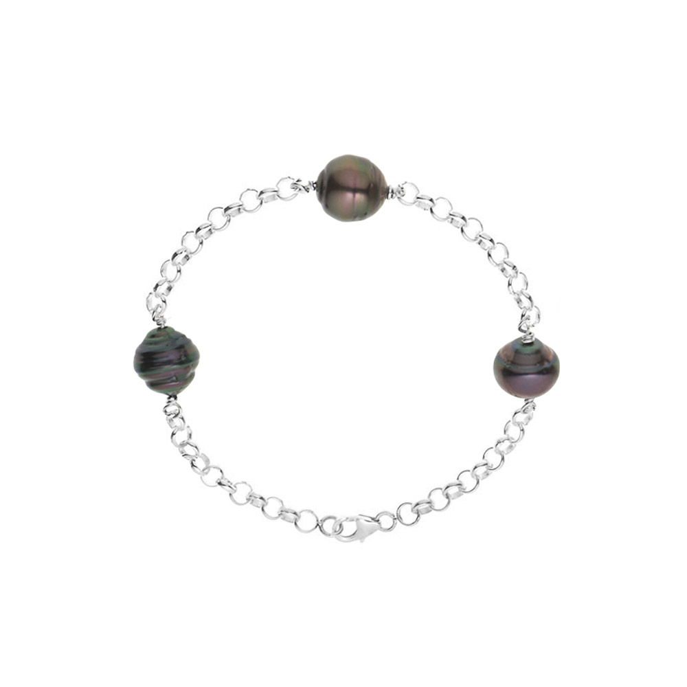 Armbaender für Frauen - 3 Tahiti Perlen Armband 925 Sterlingsilber  - Onlineshop Blue Pearls
