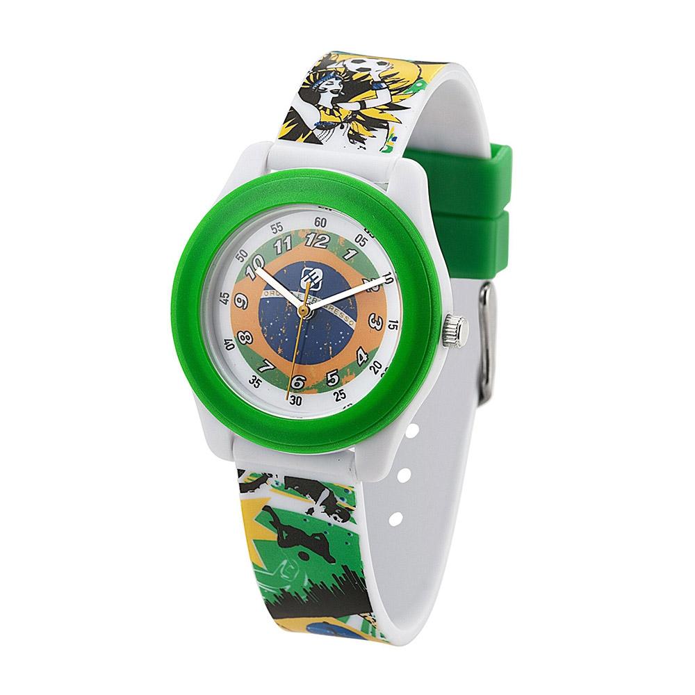 Uhren für Frauen - Junge Uhr Rocket Plastikarmband Flagge von Brasilien  - Onlineshop Blue Pearls