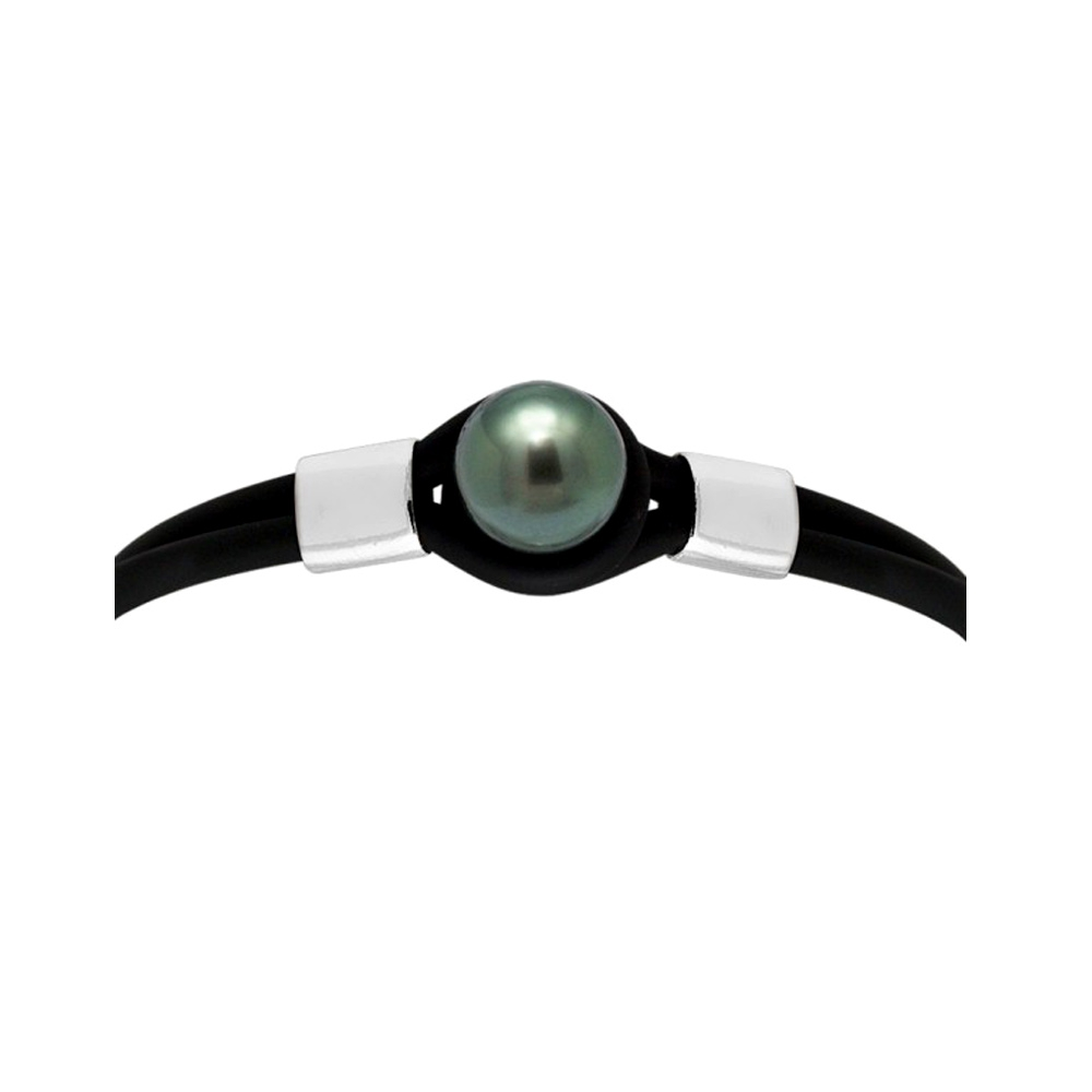 10 mm Black Tahitian Pearl, Black Neoprene Tribal Man-Woman Bracelet and 925 Sterling Silver