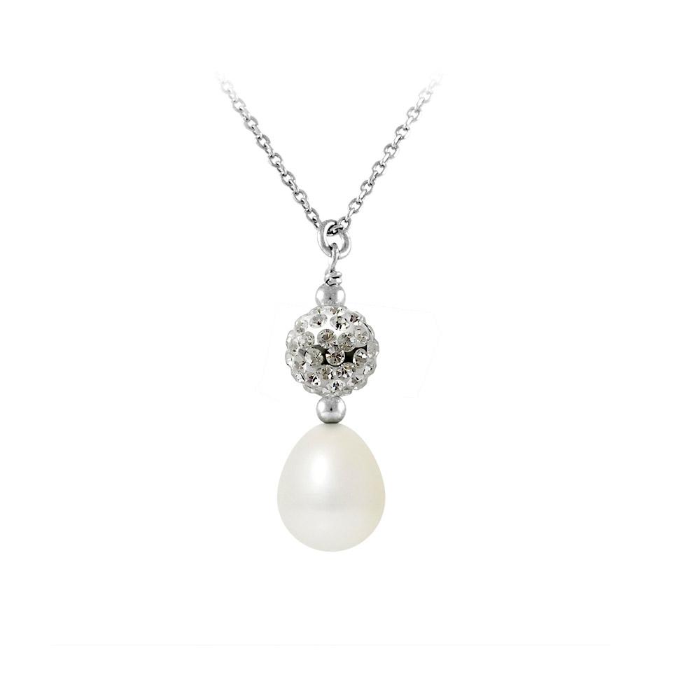 Ketten - Kristall und weiße Perle Anhänger und 925 Silber  - Onlineshop Blue Pearls
