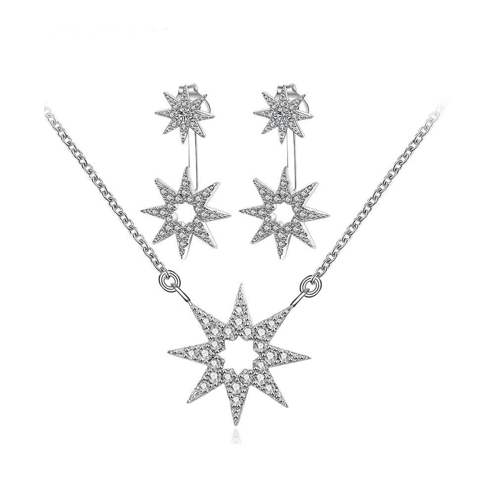 Schmucksets - Schmuckset Damen Halskette und Ohrringe in Silber überzogen, Stern in Kristall Swarovski Elements  - Onlineshop Blue Pearls