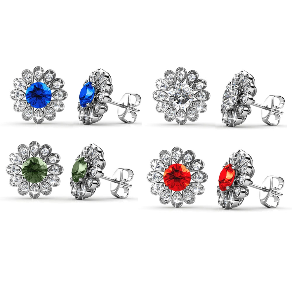 Ohrringe für Frauen - Geschenk Schmucket mit 4 Paar Swarovski Elements Kristall Ohrringe weiß, rot, grün und blau  - Onlineshop Blue Pearls