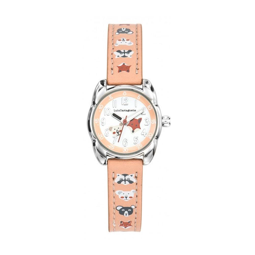 Uhren - Uhr Mädchen LuluCastagnette Kleine Lulu Orange Lederarmband Tiermuster  - Onlineshop Blue Pearls
