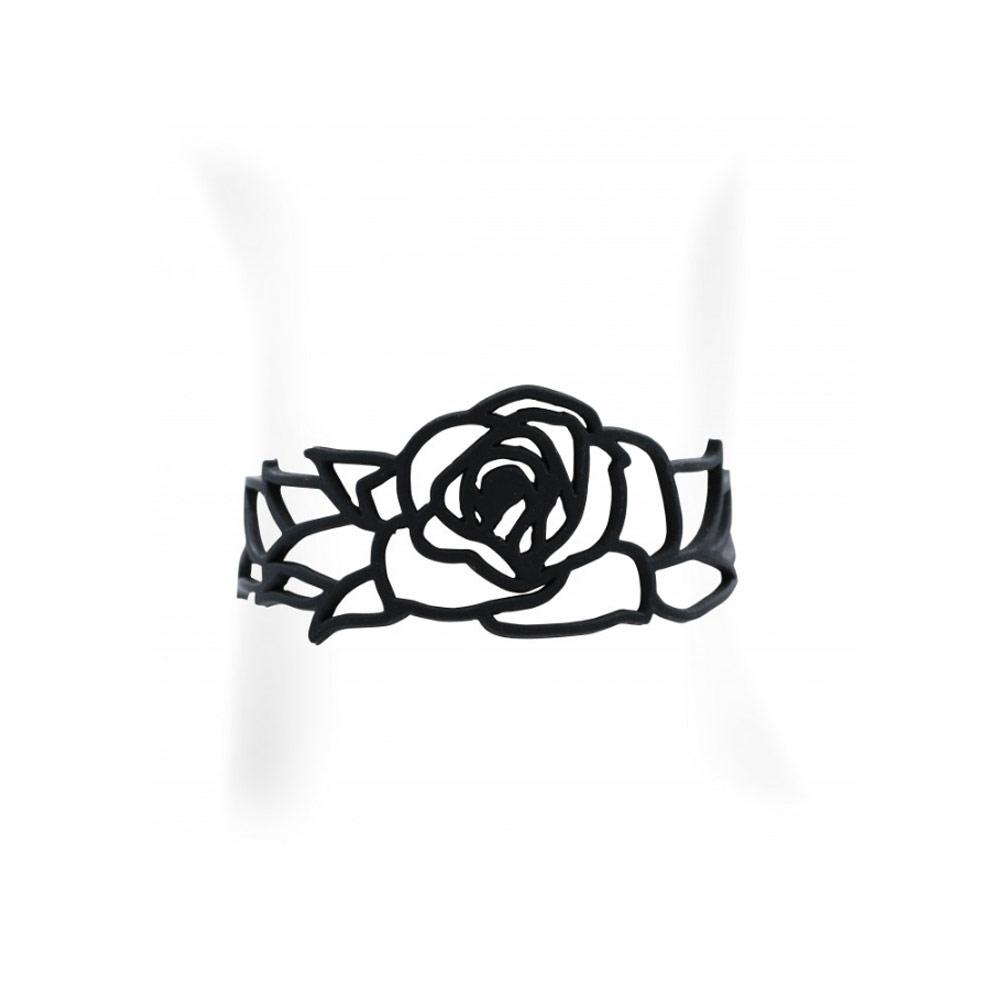 Armbaender für Frauen - Blumen Armband Schwarz Silikon Gum Effekt Tattoo  - Onlineshop Blue Pearls