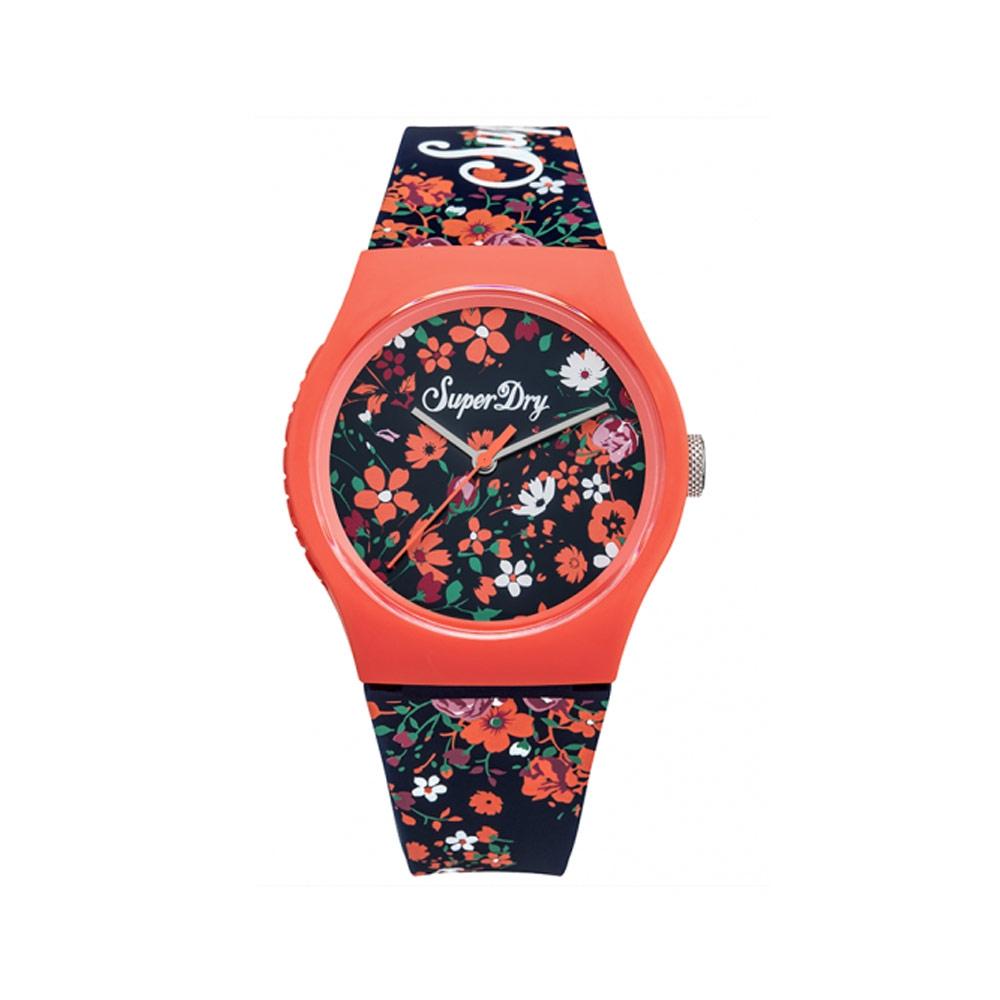 Uhr Superdry Urban Silikon Armband Blau mit floralen Motiven | 7345