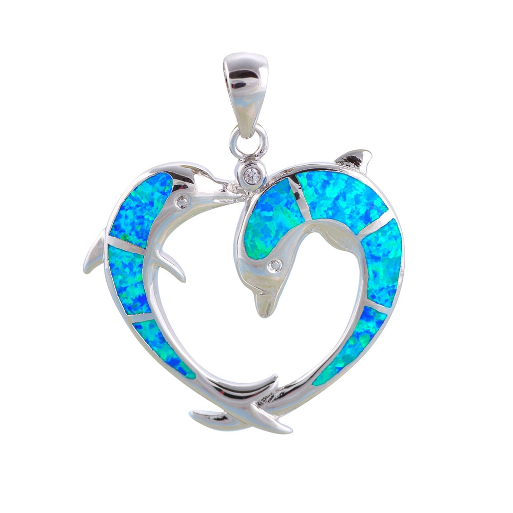 opal-dolphins-pendant-and-silver-plated