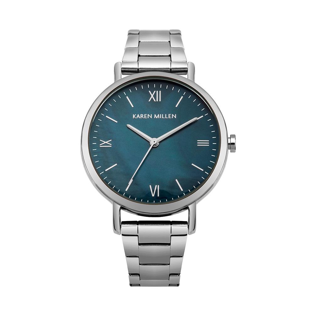 Uhren - Damenuhr Karen Millen und Armband aus Silber Metall  - Onlineshop Blue Pearls