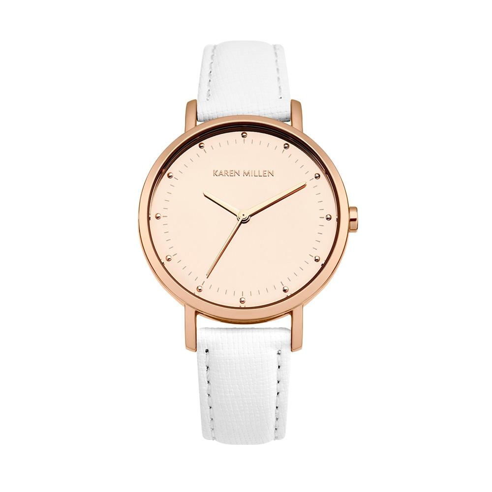 Uhren - Damenuhr Karen Millen und Weiss Lederarmband  - Onlineshop Blue Pearls